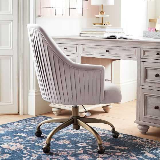 Pleated Desk Chair, Velvet Gray - Pottery Barn Teen