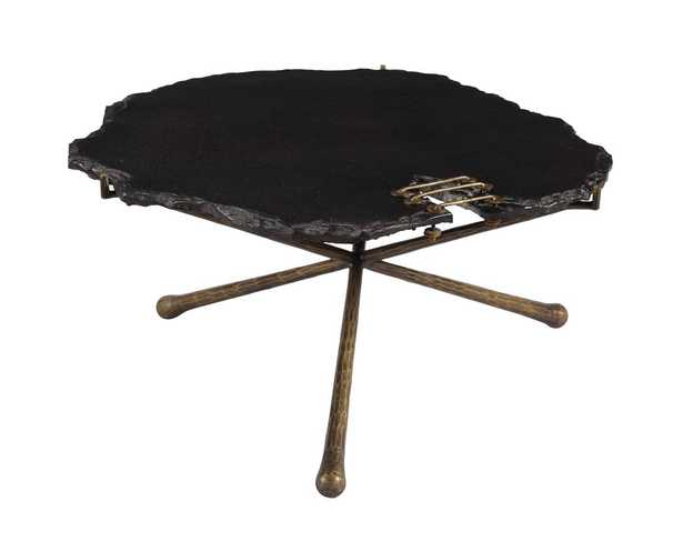 Kinley Black Stone Cocktail Table - Maren Home