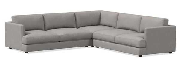 Haven Sectional Set 03: Left Arm Sofa, Corner, Right Arm Sofa, Heathered Tweed, Cement, Concealed Support, Trillium - West Elm