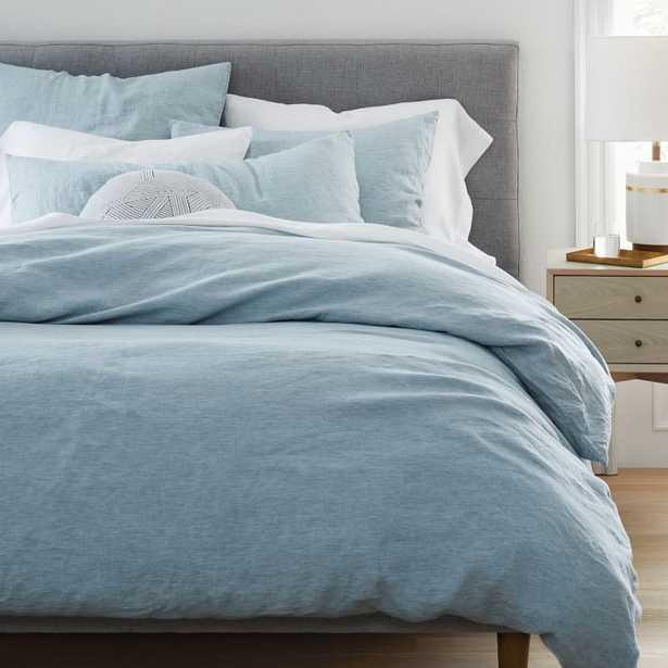 Belgian Linen Melange Duvet Cover & Shams - Washed Blue Gemstone - West Elm