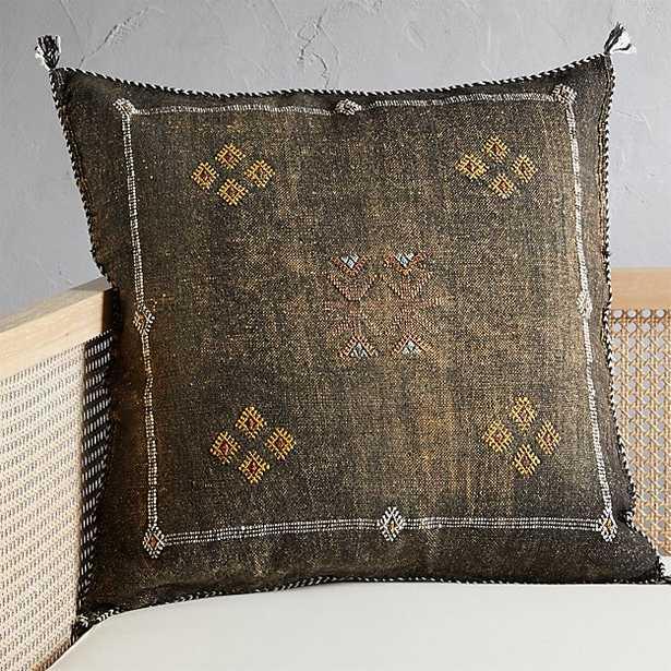 "23"" cactus silk coffee pillow with down-alternative insert - CB2"