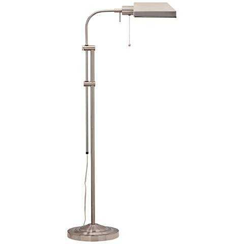 Brushed Steel Adjustable Pole Pharmacy Metal Floor Lamp - Lamps Plus