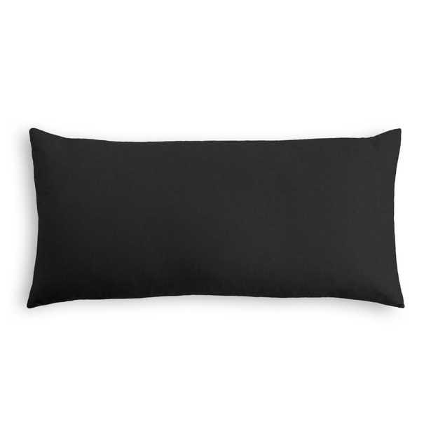 "Classic Linen Pillow, Black, 12"" x 18"" Lumbar - Havenly Essentials"