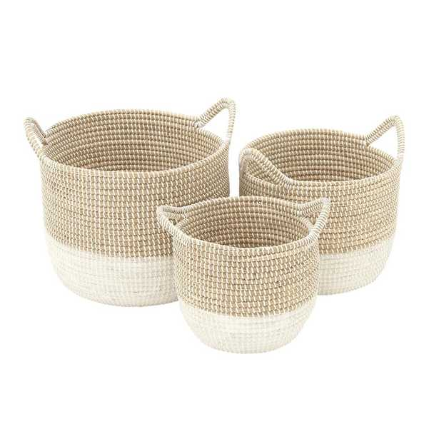 Brown and White Corded Seagrass Round Baskets with Arched Cord Handles (Set of 3), Natural Brown - Home Depot