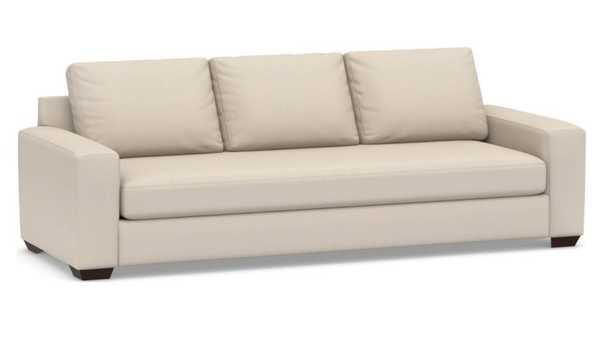 """Big Sur Square Arm Upholstered Grand Sofa 105"""" with Bench Cushion, Down Blend Wrapped Cushions, Sunbrella(R) Performance Herringbone Oatmeal - Pottery Barn"""