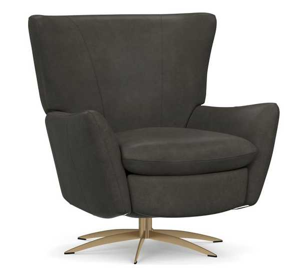 Wells Leather Tight Back Swivel Recliner with Brass Base, Polyester Wrapped Cushions, Churchfield Ebony - Pottery Barn