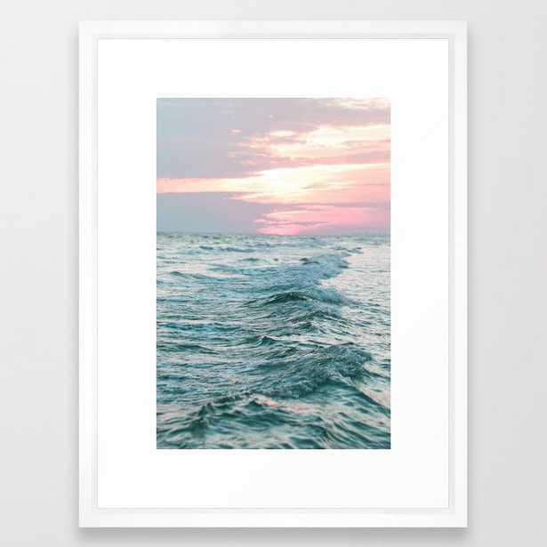 """Ocean Sunset Framed Art Print - 20x26"""",  vector white frame - Society6"""