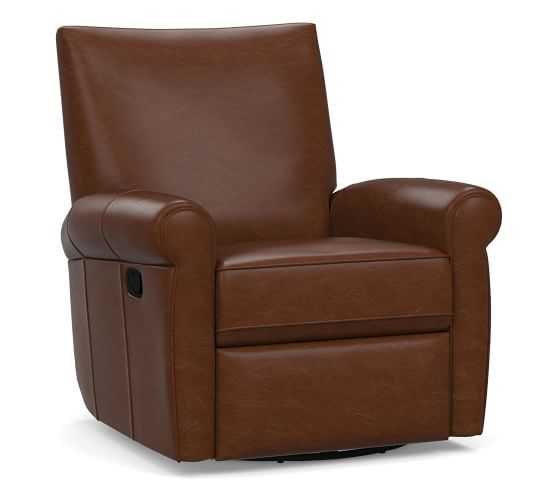 Grayson Leather Swivel Recliner, Polyester Wrapped Cushions, Legacy Chocolate - Pottery Barn