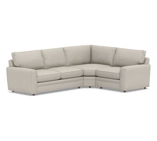 Pearce Square Arm Upholstered Right Arm 3-Piece Wedge Sectional, Down Blend Wrapped Cushions, Performance Heathered Tweed Pebble. Right Arm Sofa + Wedge + Left Armchair - Pottery Barn