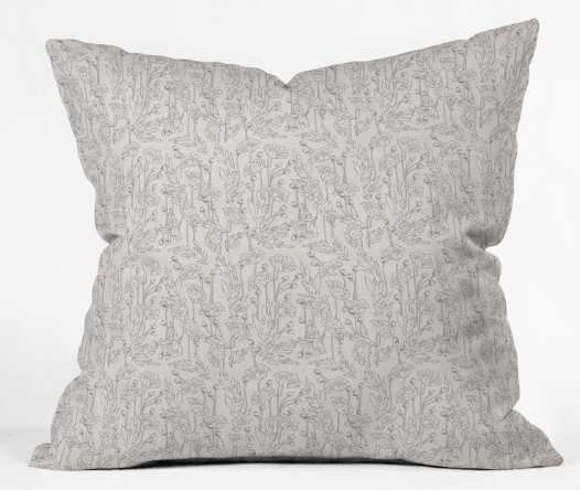 "POPPY GREY Throw Pillow - 18"" - with insert - indoor - Wander Print Co."