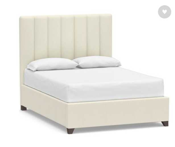 Kira Channel Tufted Upholstered Bed, California King, Premium Performance Basketweave Ivory - Pottery Barn