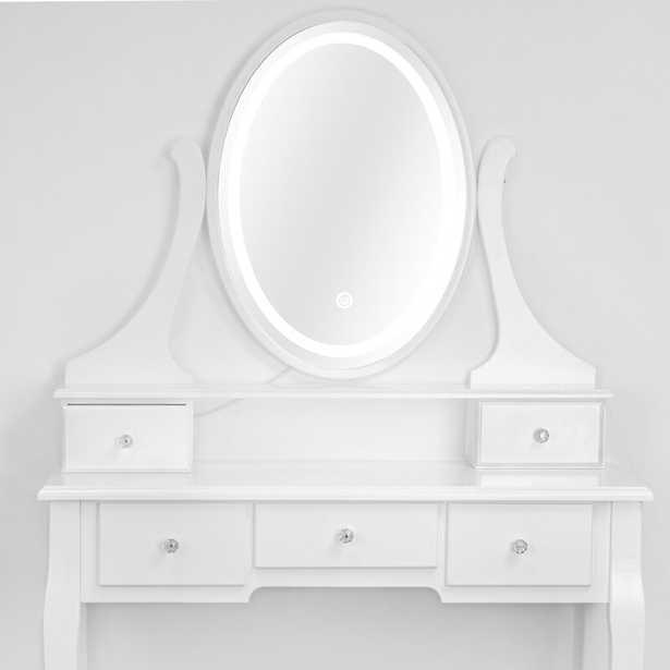Dinwiddie Vanity Set with Stool and Mirror - Wayfair