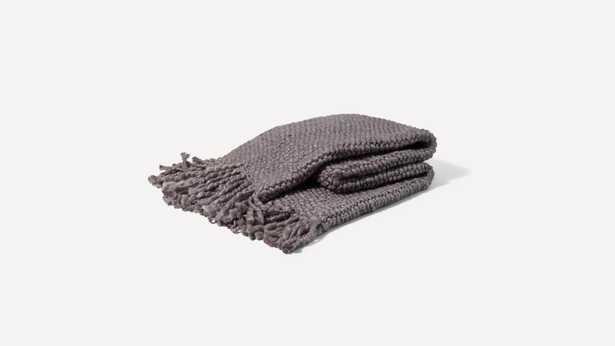 Burrow Gray Throw Blanket and Tassels - Burrow
