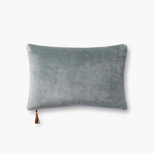 """PILLOWS P1153 DENIM / TAN 13"""" x 21"""" Cover w/Down - Magnolia Home by Joana Gaines Crafted by Loloi Rugs"""