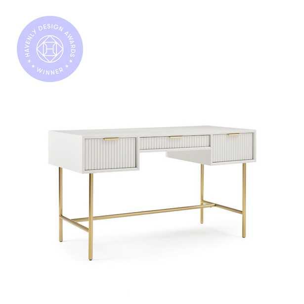 We Quinn Collection Haze/Antique Brass Standard Desk - West Elm
