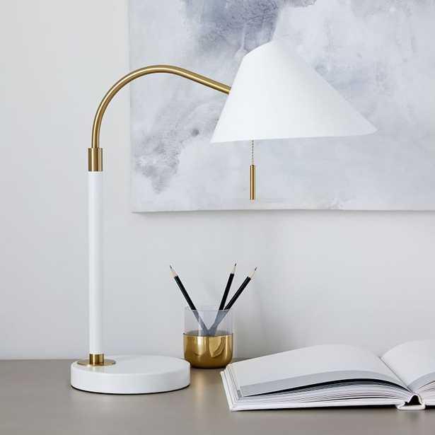 Mid-Century Task Table Lamp + USB - White - West Elm