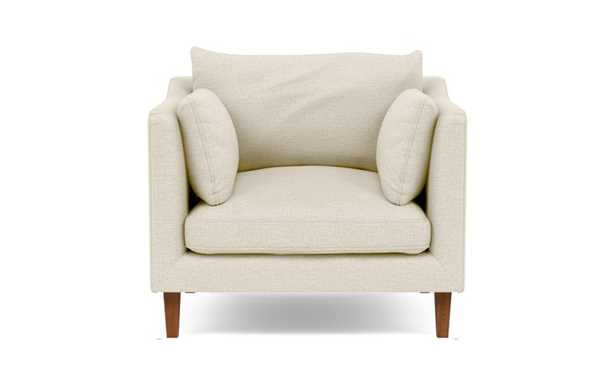CUSTOM - CAITLIN BY THE EVERYGIRL Accent Chair - Heathered Weave Oatmeal - Oiled Walnut Tapered Square Wood - Interior Define