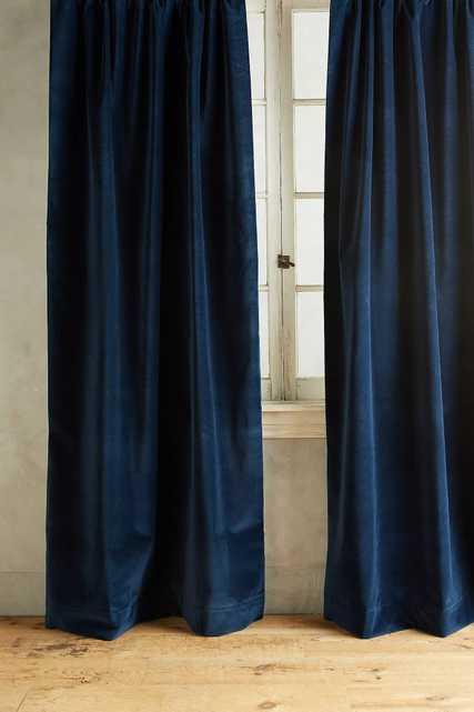 Matte Velvet Curtain - Navy - Anthropologie