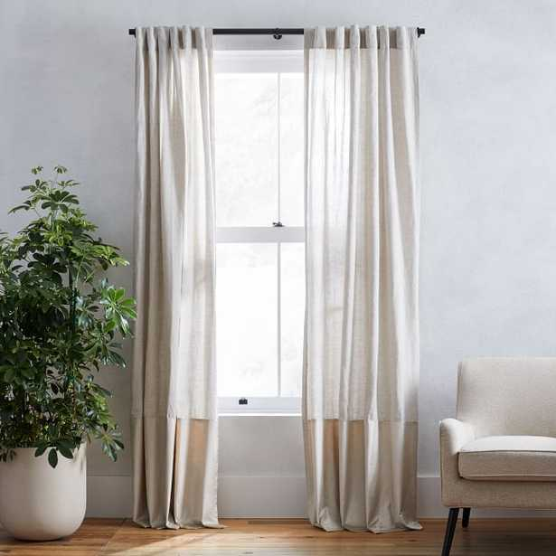 "European Flax Linen + Luster Velvet Curtain, Natural/Sand 48""x84"" - West Elm"