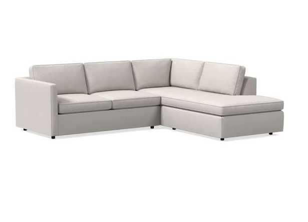 Harris Sectional Right Arm Terminal Chaise, Small, Poly, Twill, Wheat, - West Elm