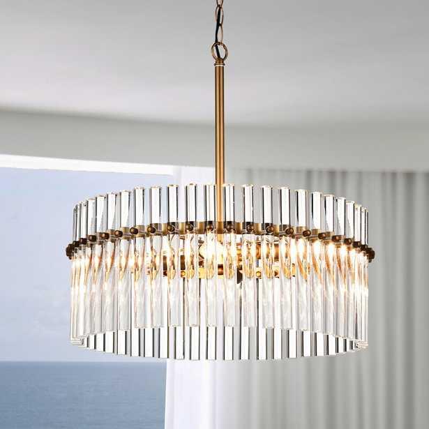 Neva 5-light Brushed Brass Pendant Crystal Chandelier - Wayfair