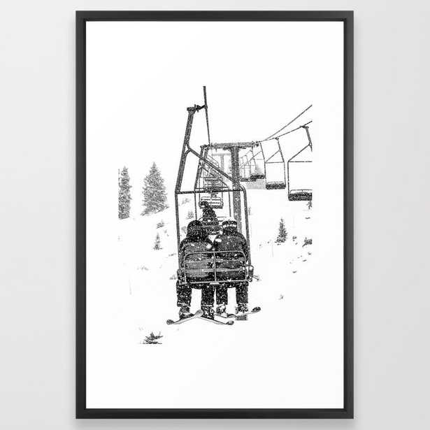 Snow Lift // Ski Chair Lift Colorado Mountains Black and White Snowboarding Vibes Photography Framed Art Print - Society6
