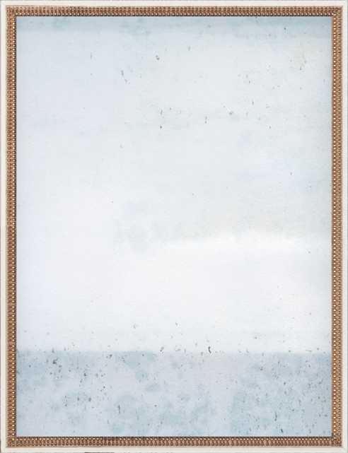 "Overast - Soft Blues - 28"" x 36"" - Ornate - Distressed Cream Double Bead Wood, frame width 1.25"", depth 1.69"" - Artfully Walls"