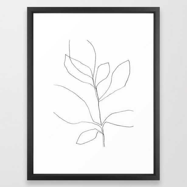 Seven Leaf Plant - Minimalist Botanical Line Drawing Framed Art Print, 20x26 - Society6