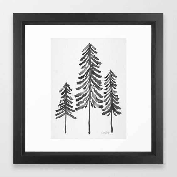 "Pine Trees – Black Ink Framed Art Print 12 x 12"" - Society6"