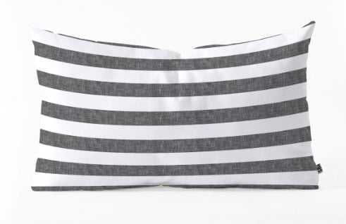 Stripes in Grey Oblong Pillow - Wander Print Co.