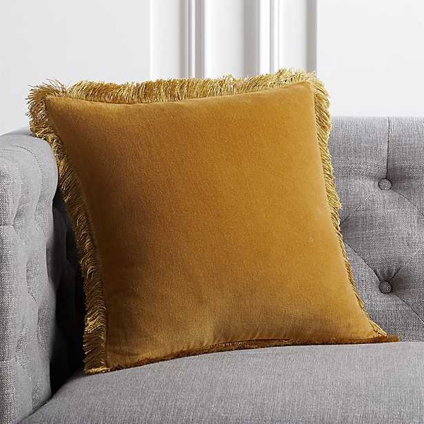 """16"""" Bettie Mustard Pillow with Feather-Down Insert - CB2"""