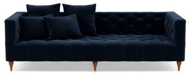 "Ms. Chesterfield Sofa // Navy Performance Velvet fabric // Oiled Walnut with Brass Cap Stiletto legs // 86"" - Interior Define"