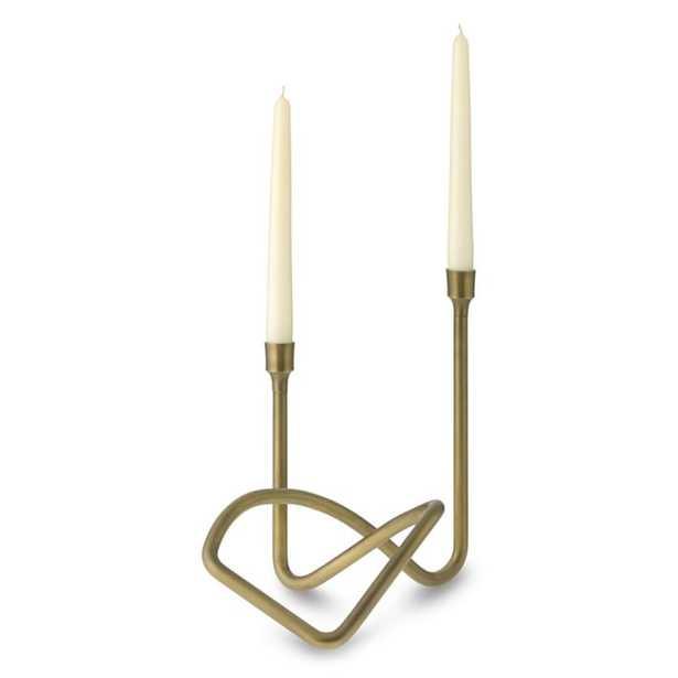 Sculptural Candleholder, Antique Brass - Williams Sonoma