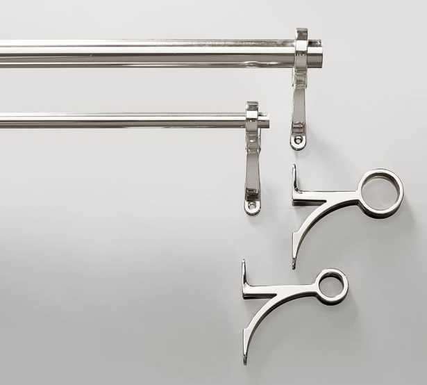 "PB Standard Curtain Rod & Wall Bracket, .75"" diam., Polished Nickel Finish - Pottery Barn"