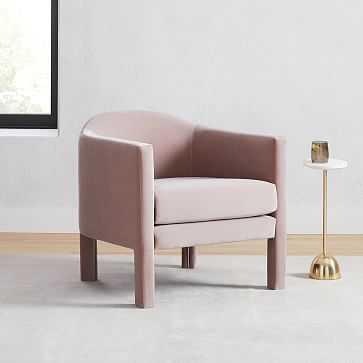 Isabella Upholstered Chair, Poly, Astor Velvet, Dusty Blush - West Elm