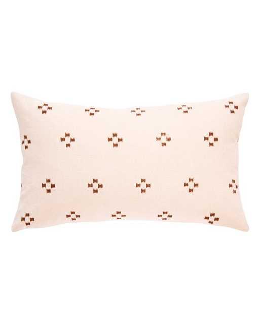 HMONG LUMBAR PILLOW IN CREAM WITH BROWN IKAT SQUARES - PillowPia