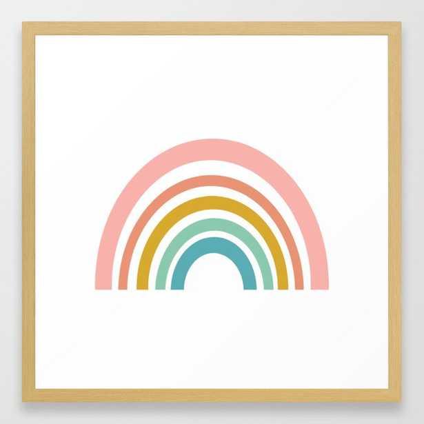 Simple Happy Rainbow Framed Art, Medium Gallery, Natrual Frame - Society6