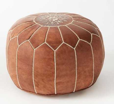 Leather Moroccan Pouf, Tan - West Elm