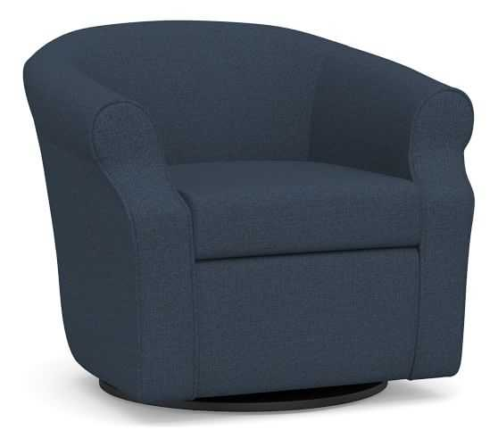 SoMa Lyndon Upholstered Swivel Armchair, Polyester Wrapped Cushions, Brushed Crossweave Navy - Pottery Barn