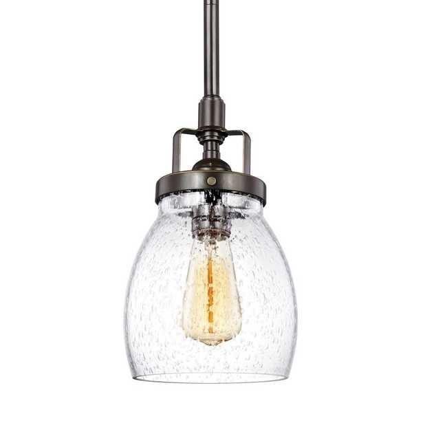 Sea Gull Lighting Belton 5.375 in. W. 1-Light Heirloom Bronze Mini Pendant - Home Depot