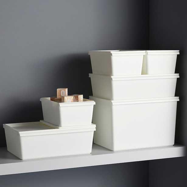 Small Modern Bin w/ Lid White - containerstore.com