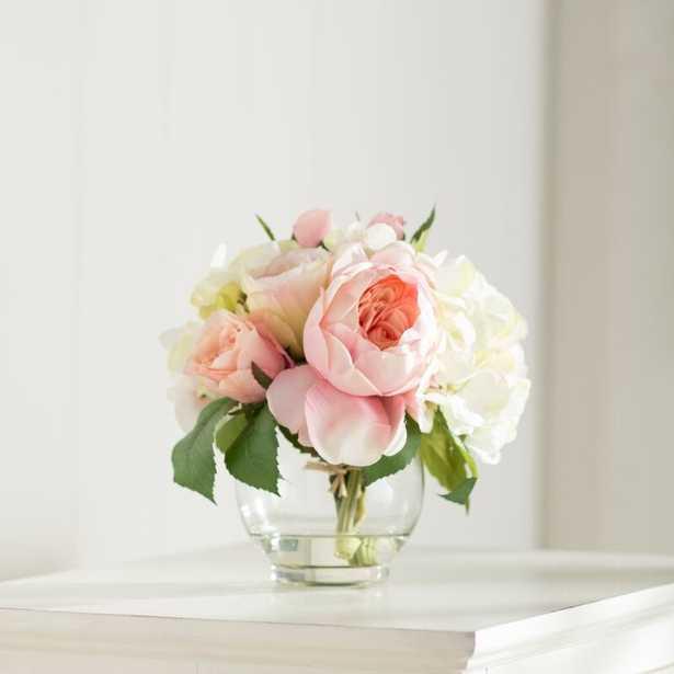 Roses and Hydrangea Floral Arrangement in Vase - Wayfair