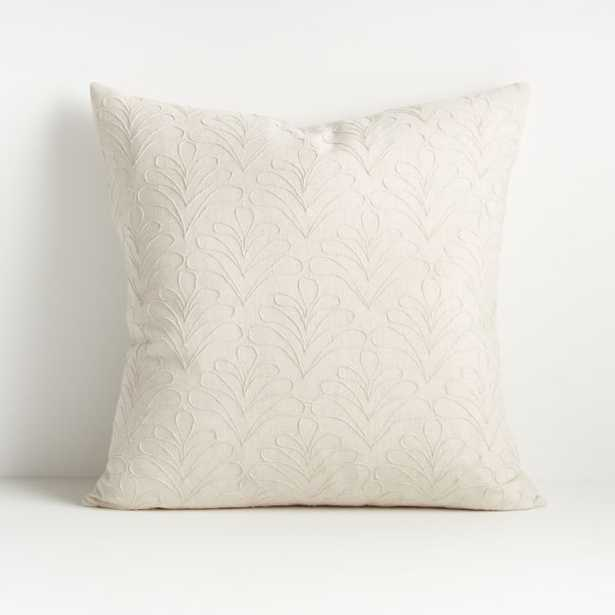"""Mari White Textured Pillow 20"""" w/feather down insert - Crate and Barrel"""
