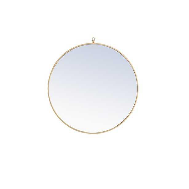 Yedinak Modern Distressed Accent Mirror- brass 32x32 - Wayfair