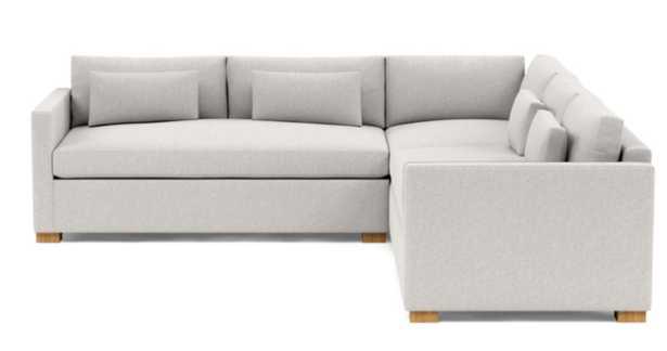 "Charly Corner Sectional Sofa; Pebble Heathered Weave; Natural Oak Block Legs; Down alternative; 104""; Standard Depth Cushions; Bench Cushions - Interior Define"
