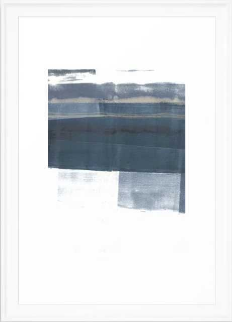 """Blue and White Minimalist Abstract Landscape Framed Art Print 15"""" x 21"""" - Society6"""