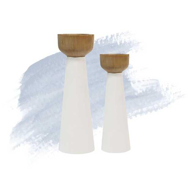 2 Piece Pillar Metal/Wood Candlestick Set - Wayfair