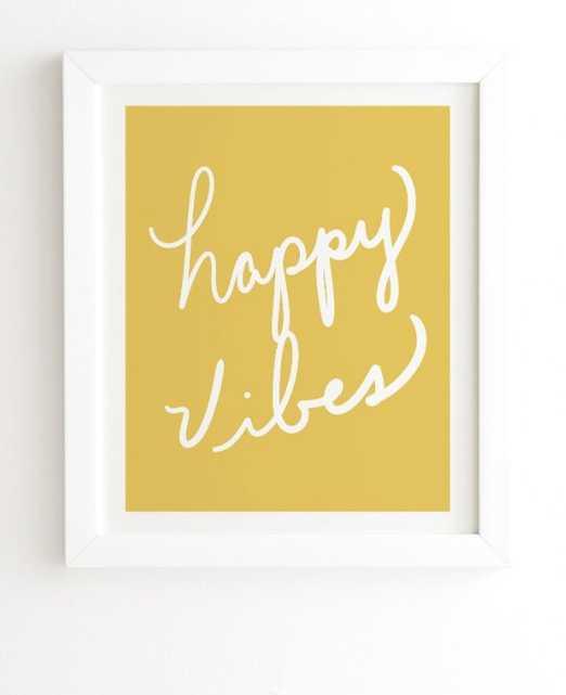 "HAPPY VIBES YELLOW 19"" x22.4"" - Wander Print Co."