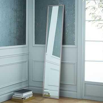 Metal Framed Mirror, Brushed Nickel, Narrow - West Elm
