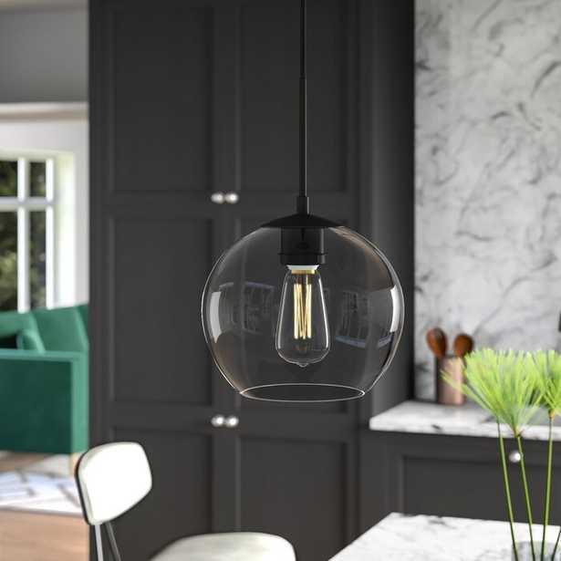 Yearwood 1-Light Single Globe Pendant, Black/Clear - Wayfair